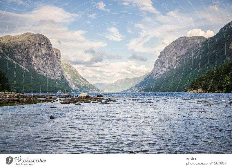 Lake Tysdalsvatnet Natur Ferien & Urlaub & Reisen Sommer Sonne Landschaft Ferne Wald Berge u. Gebirge Küste Freiheit Felsen träumen wandern Wellen Ausflug Schönes Wetter