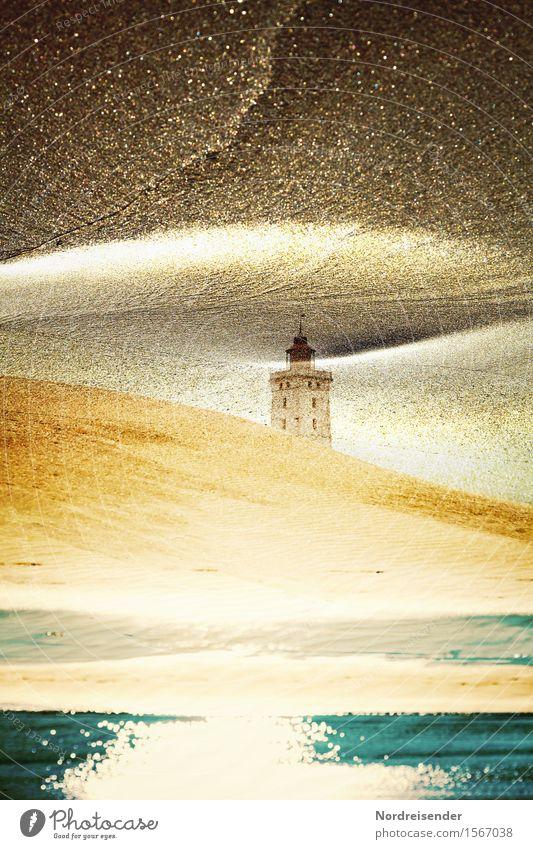 Abstrakt Ferien & Urlaub & Reisen Ferne Urelemente Sand Wasser Küste Strand Nordsee Meer Leuchtturm Bauwerk Gebäude Architektur Schifffahrt glänzend träumen