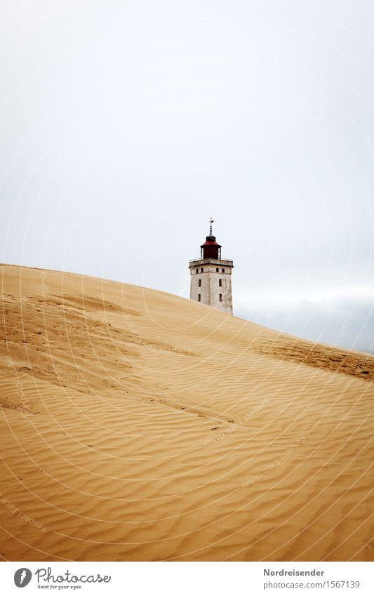 Rubjerg Knude Fyr Ferien & Urlaub & Reisen Tourismus Meer Sand Himmel Wind Küste Nordsee Fischerdorf Leuchtturm Bauwerk Gebäude Architektur Schifffahrt maritim