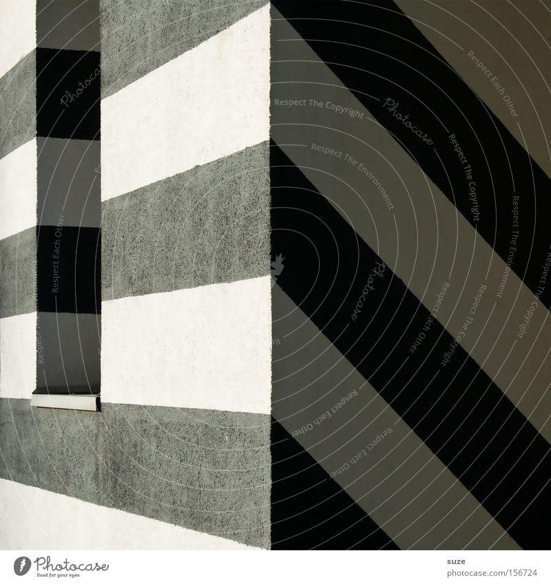 Zebra um die Ecke weiß schwarz Haus Fenster Architektur Stil Kunst Linie Design Perspektive Streifen einfach Geometrie eckig graphisch