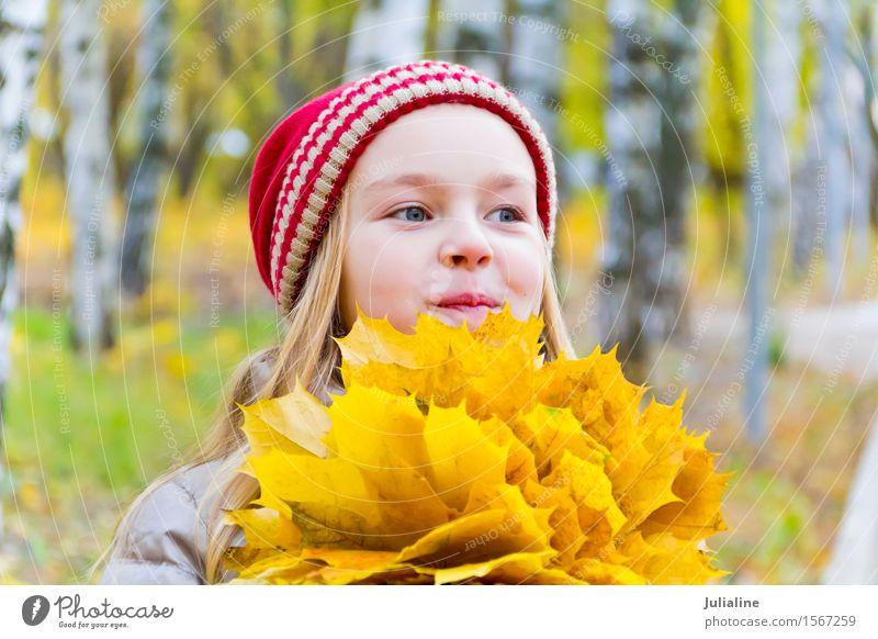 Mädchen mit Blumenstrauß von den Blättern im Herbst Kräuter & Gewürze Kind Schulkind Frau Erwachsene Kindheit 1 Mensch 8-13 Jahre Pflanze Blatt Hut blond