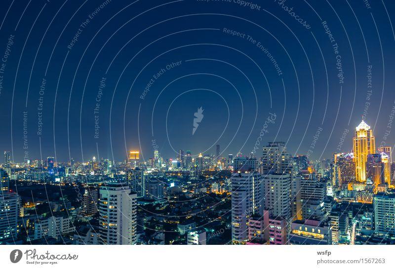 Bangkok skyline bei nacht panorama Büro Stadt Stadtzentrum Skyline Hochhaus Architektur Ferien & Urlaub & Reisen Beleuchtung Stadtteil sukhumvit himmel bank