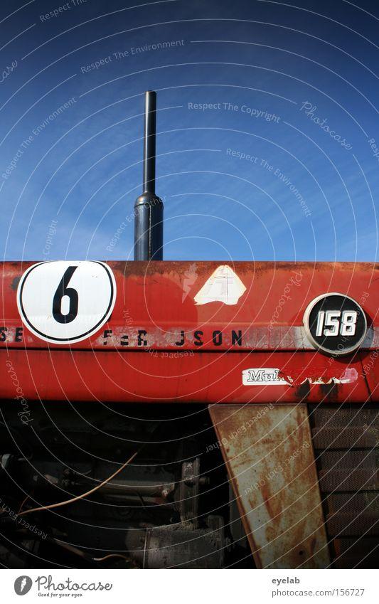 S E 6 F . R J S O N 158 Himmel Traktor Landwirtschaft Maschine Kraft Motor Benzin Diesel rot Blech Stahl Industrie Ziffern & Zahlen Erdöl