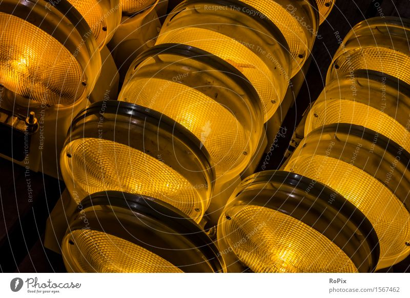 Warnleuchten Stadt Umwelt gelb Straße Architektur Arbeit & Erwerbstätigkeit orange Verkehr Industrie Baustelle rund Güterverkehr & Logistik Beruf Wirtschaft