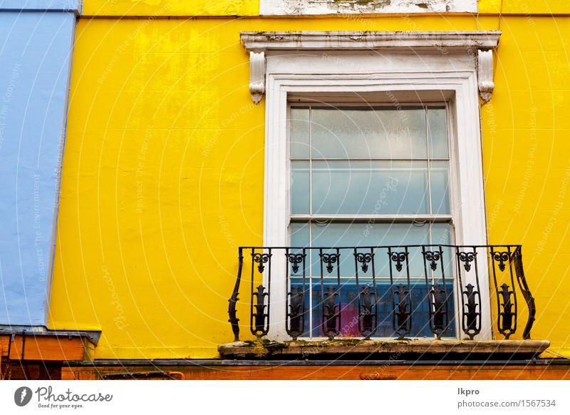und antike gelbe Wandtür Stadt alt Farbe weiß Haus Straße Architektur Stil Gebäude Holz rosa Wohnung authentisch Hügel Balkon