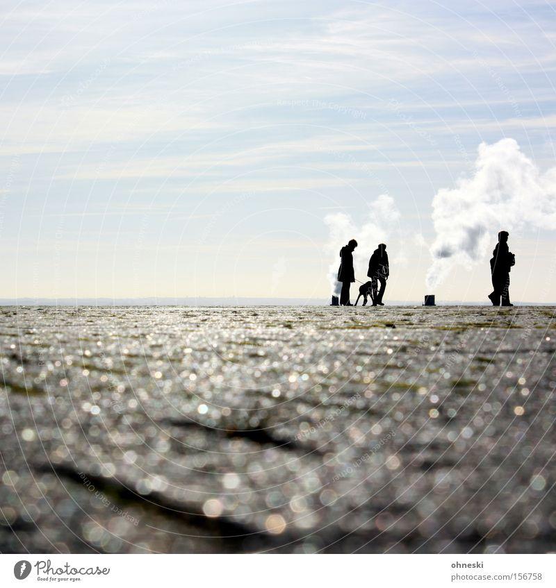 Gruppenbild mit Dame (und Hund) Horizont Ausflug Sonne Rauch Abgas Wasserdampf Industrie Kultur Spaziergang Himmel Mann sprechen Himmelskörper & Weltall