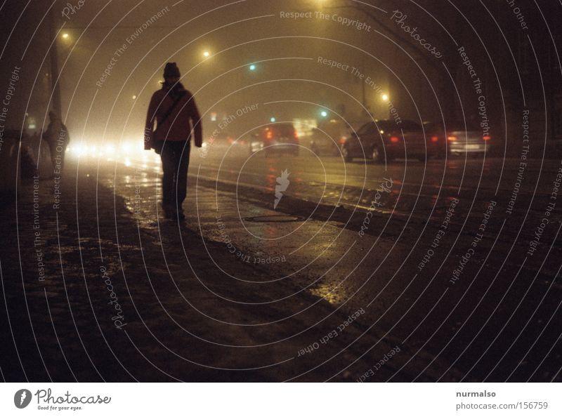 Ziel im Dunkeln Straße Mensch Bürgersteig PKW Ampel Nebel unheimlich Nacht Stadtleben Wege & Pfade unterwegs Krimi Regen Asphalt Potsdam Nachtfarbe Verkehrswege