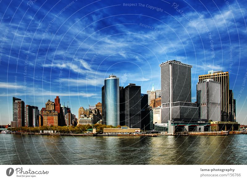 The Big Apple New York City USA Amerika Manhattan Skyline Himmel Wolken Hochhaus Insel modern HDR Panorama (Aussicht) groß Stadt downtown