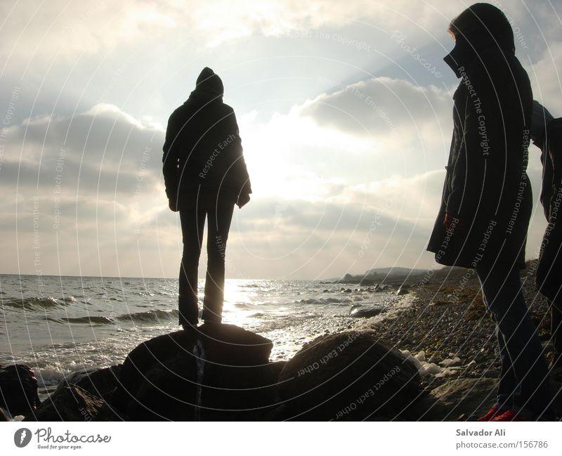 Vorwärts-Nass Himmel Meer Winter Ferien & Urlaub & Reisen ruhig Erholung Stein Küste wandern Felsen Sehnsucht Sonnenuntergang Seeufer Ostsee Dänemark Langeland
