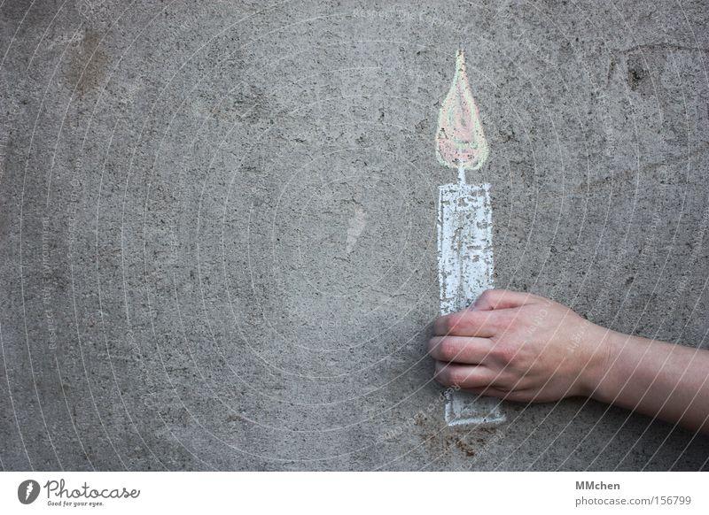 Zum Geburtstag... Hand Geburtstag Beton Kerze Langeweile Flamme Kreide Jubiläum Glückwünsche