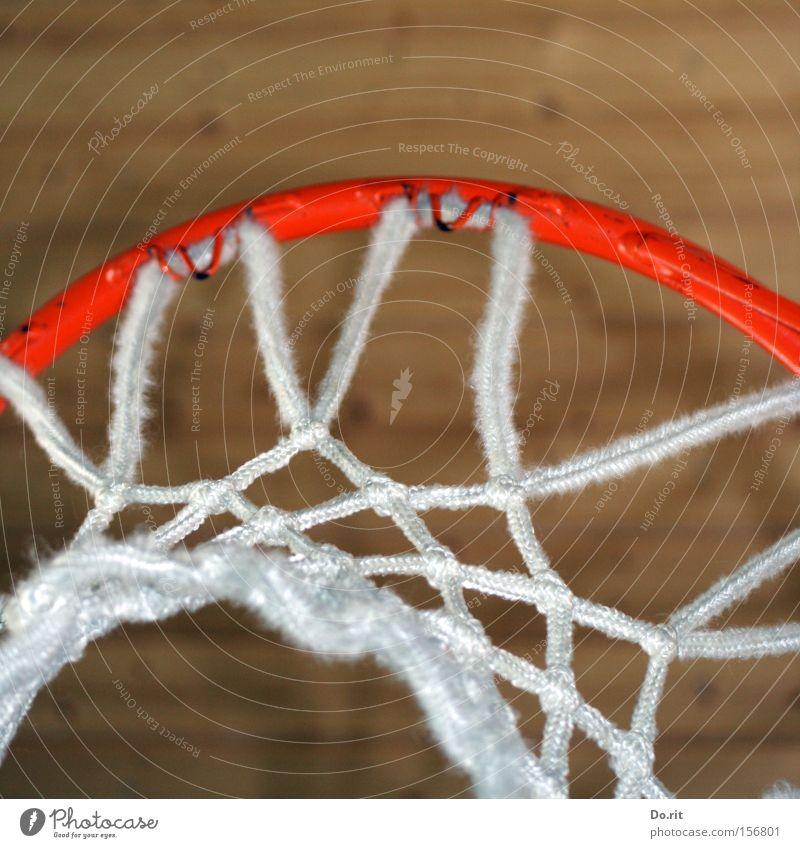 Volltreffer Farbfoto Innenaufnahme Textfreiraum oben Freizeit & Hobby Spielen Sport Ballsport Seil Netz werfen groß weiß Basketballkorb Korb Decke orange Kreis