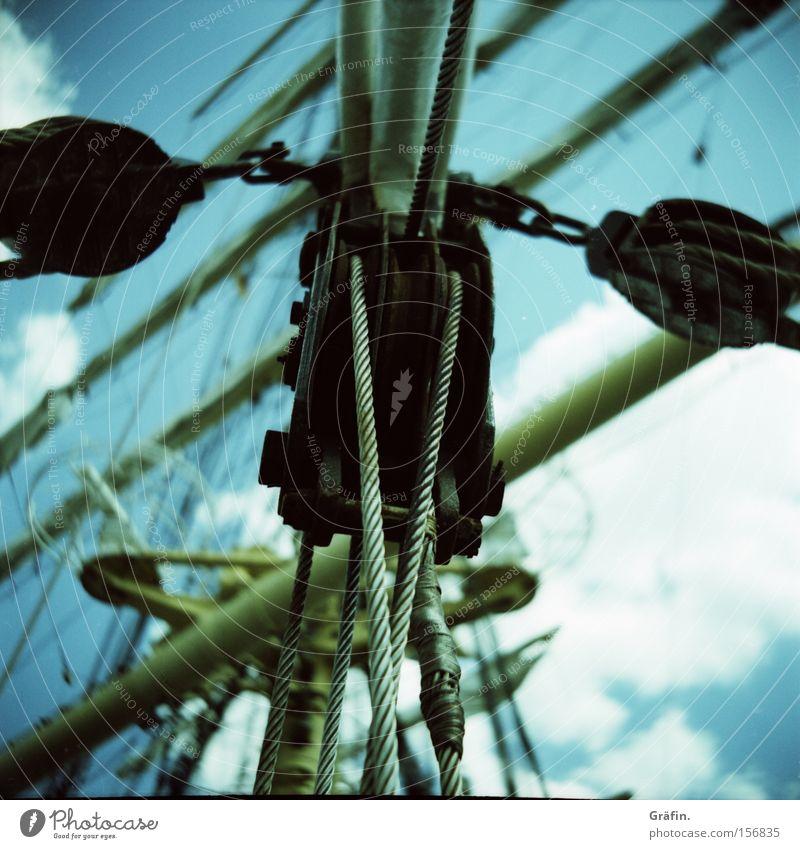 Block Party Himmel Wolken Wasserfahrzeug Sehnsucht Schifffahrt Segeln Strommast Block Segel wegfahren Seemann Segelschiff Beruf Schot