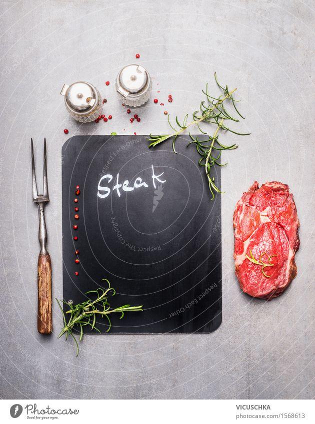 Hintergrund mit Tafel , Steak und Fleischgabel Speise Stil Hintergrundbild Lebensmittel Party Design Textfreiraum Ernährung Kräuter & Gewürze Küche Bioprodukte