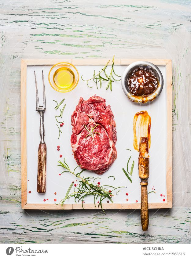Grillsteak marinieren Lebensmittel Fleisch Kräuter & Gewürze Öl Mittagessen Büffet Brunch Festessen Geschäftsessen Picknick Schalen & Schüsseln Gabel Stil
