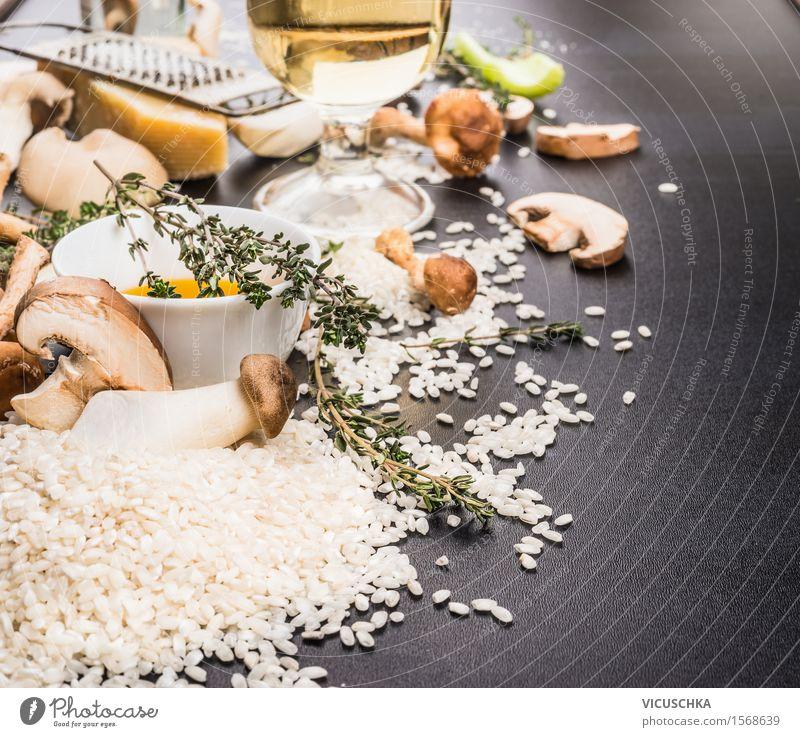 Zutaten für Pilzrisotto Lebensmittel Gemüse Getreide Kräuter & Gewürze Öl Ernährung Mittagessen Abendessen Festessen Italienische Küche Geschirr Stil Design