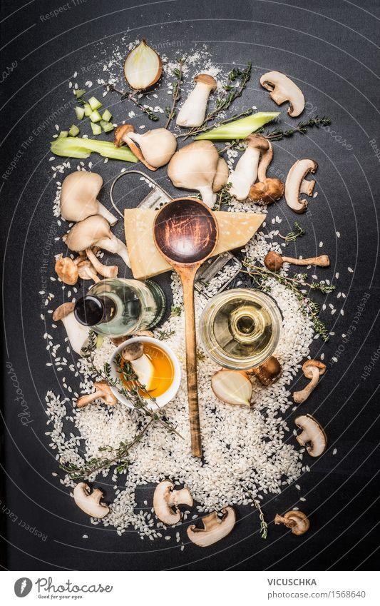 Zutaten für Pilz Risotto Lebensmittel Gemüse Getreide Kräuter & Gewürze Öl Ernährung Mittagessen Abendessen Festessen Bioprodukte Vegetarische Ernährung Diät
