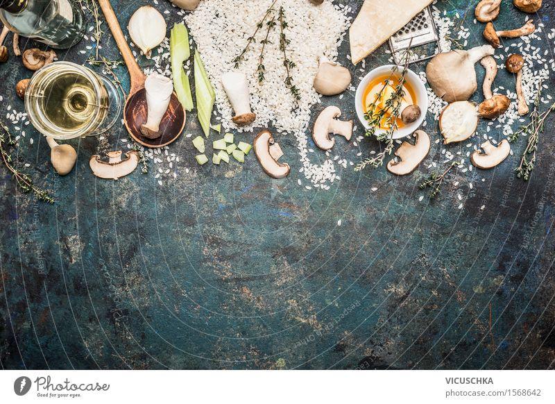 Zutaten für Pilz Risotto Lebensmittel Gemüse Getreide Kräuter & Gewürze Öl Ernährung Mittagessen Festessen Bioprodukte Vegetarische Ernährung Slowfood