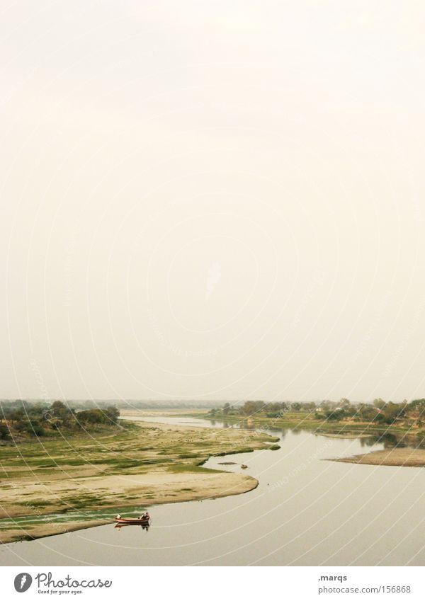 Agra Sommer Ferien & Urlaub & Reisen ruhig Einsamkeit Ferne Leben Erholung Landschaft Wasserfahrzeug Zufriedenheit Stimmung Fluss Reisefotografie einzigartig Lebensfreude Gemälde
