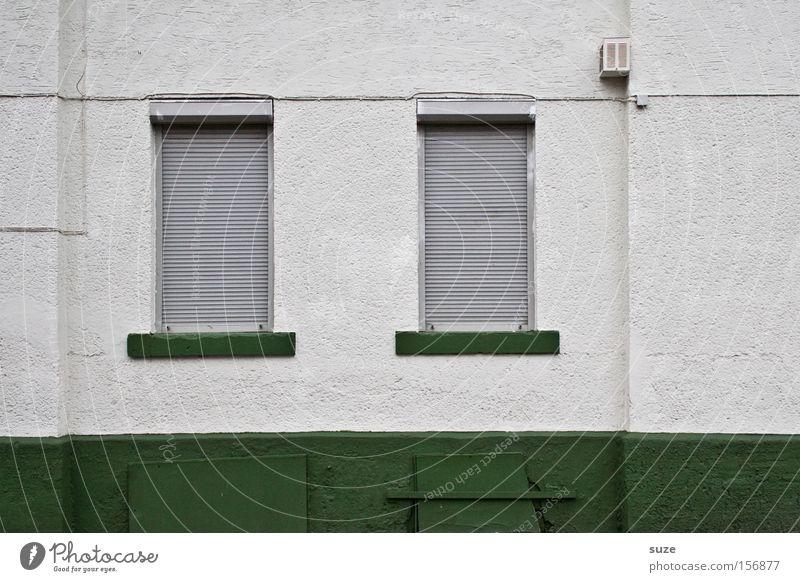 Sonntag Wohnung Haus Mauer Wand Fenster Linie trist grün geschlossen Putz Rollladen Jalousie Fensterbrett Altbau paarweise Kabel weiß Farbfoto Gedeckte Farben