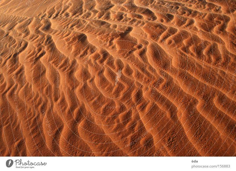 Sandgeflüster Natur rot Farbe Sand Wellen Wind Wüste trocken Düne fließen glühen Formation Sandsturm