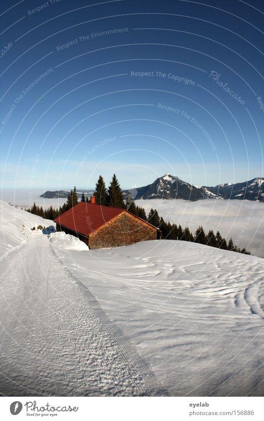 Hüttenzauber Berge u. Gebirge Wald Baum Himmel Winter Berghütte Holz Wege & Pfade Schnee Fußweg Wolken Nebel Tal
