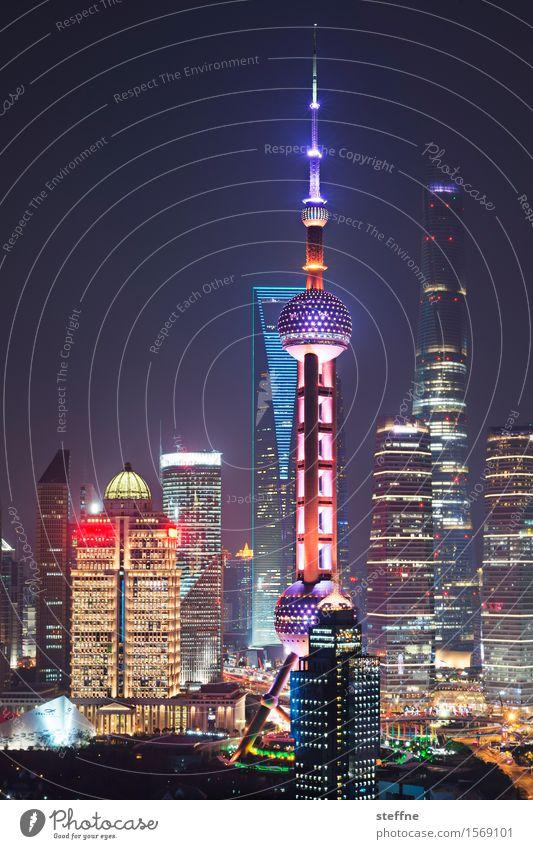 Life on Mars Landschaft Nachthimmel Stadt Skyline überbevölkert Haus Hochhaus Shanghai Pu Dong China Fernsehturm Licht Lichtermeer Zukunft Fortschritt Wachstum