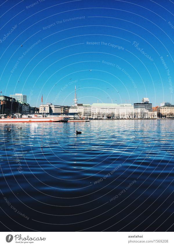 Hamburg Panorama an der Alster Ferien & Urlaub & Reisen Tourismus Städtereise Kreuzfahrt Wasser Fluss Schifffahrt Binnenschifffahrt Passagierschiff Dampfschiff
