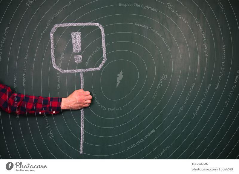 ACHTUNG Mensch Umwelt Leben Kunst maskulin Kraft Schilder & Markierungen Arme gefährlich Hinweisschild bedrohlich Ziel festhalten Bildung Mut Wachsamkeit