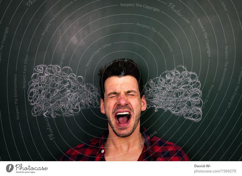 Überlastet Mensch Jugendliche Mann Junger Mann Erwachsene Leben Traurigkeit Kunst Schule Kopf maskulin Angst lernen Studium Student Ohr