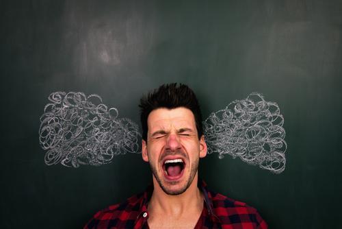 Überlastet Schule lernen Tafel Studium Student Prüfung & Examen Mensch maskulin Junger Mann Jugendliche Erwachsene Leben Kopf 1 Kunst toben Aggression