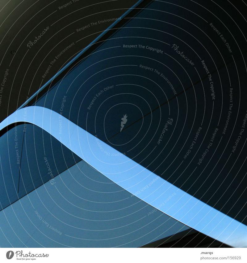 Curve blau schwarz dunkel Stil Linie Metall Design elegant Verkehr Fassade ästhetisch Coolness Zukunft Sauberkeit rein Dinge