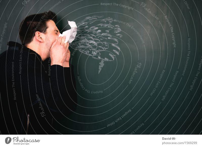 Erkältung Mensch Mann Gesunde Ernährung Winter Erwachsene Leben Herbst Frühling Gesundheit Kopf Gesundheitswesen maskulin Krankheit Tafel Kreide