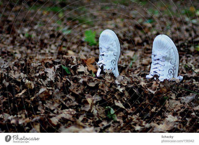 Alleingang Blatt Einsamkeit Herbst Freiheit Schuhe Angst Spaziergang Sehnsucht verstecken Flucht vergessen Zufluchtsort