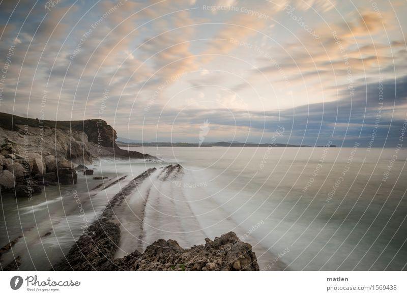 costilla Himmel Natur blau Sommer grün Wasser weiß Meer Landschaft Wolken Küste grau braun Felsen orange Horizont