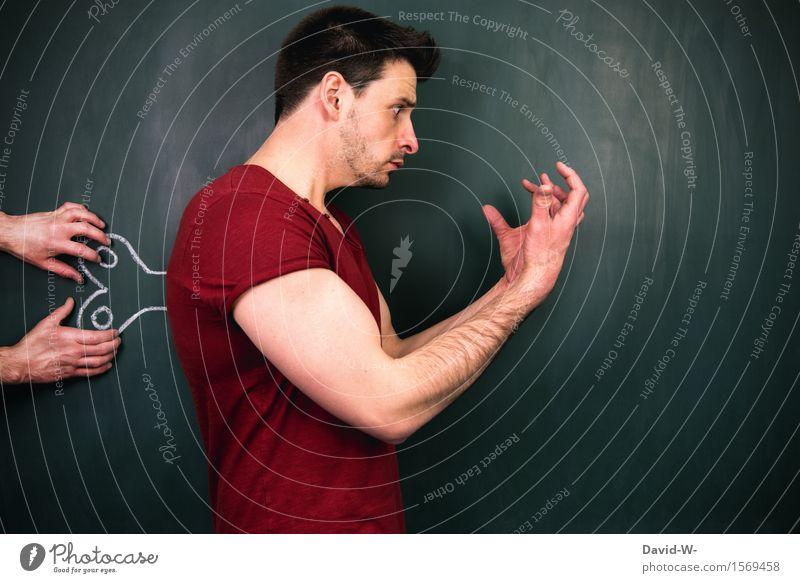 Fremdgesteuert II Gesundheit Leben Sinnesorgane Wissenschaften Tafel Telekommunikation Business Mensch maskulin Junger Mann Jugendliche Erwachsene 1 Kunst