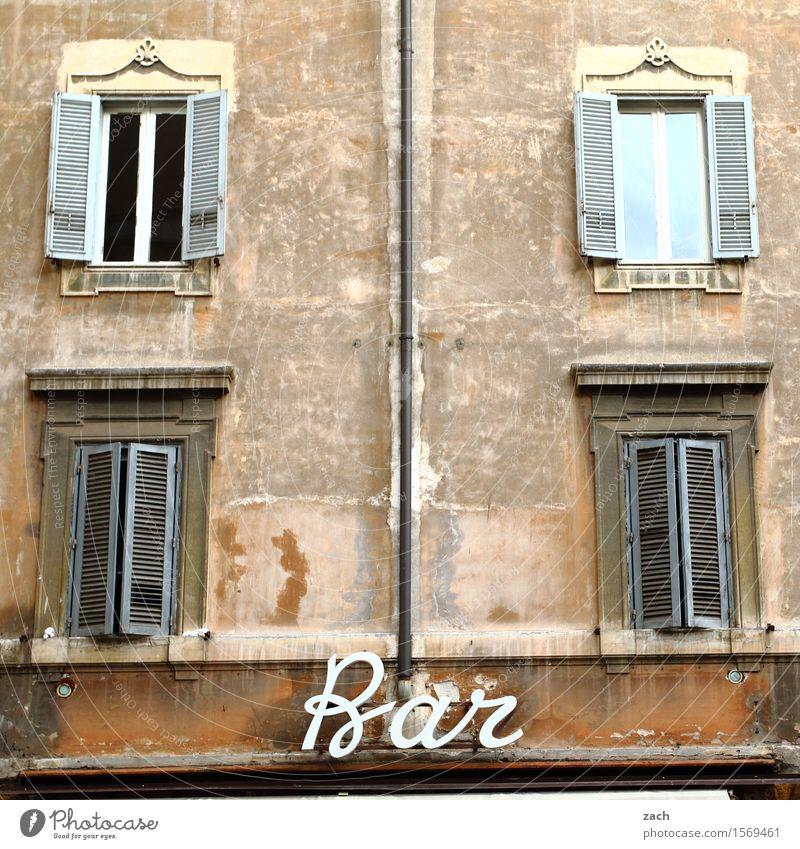 Trinkhalle Stadt Haus Fenster Wand Mauer braun Fassade Schilder & Markierungen Schriftzeichen genießen Getränk Ziffern & Zahlen trinken Wein Restaurant Bier