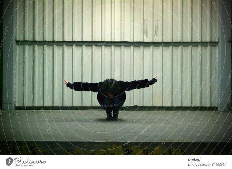 Zeitbombe Frau Mensch ruhig Tier Einsamkeit kalt Vogel fliegen Luftverkehr Flügel Vertrauen Konzentration Bühne Meditation Kontrolle Abheben