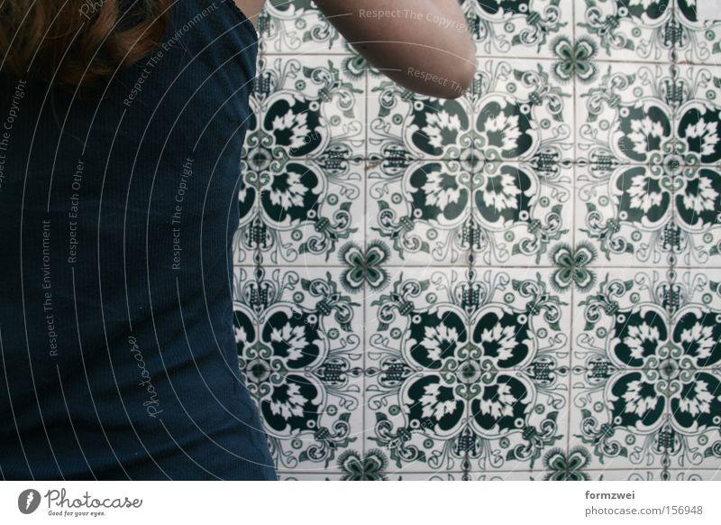 Green Pattern Buenos Aires fließen Mauer Argentinien Detailaufnahme Farbe