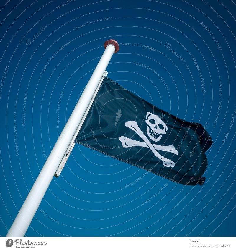 Trotzkopf Himmel Wind Fahne bedrohlich retro blau schwarz weiß bizarr geheimnisvoll Krise protestieren rebellieren Konflikt & Streit Wandel & Veränderung