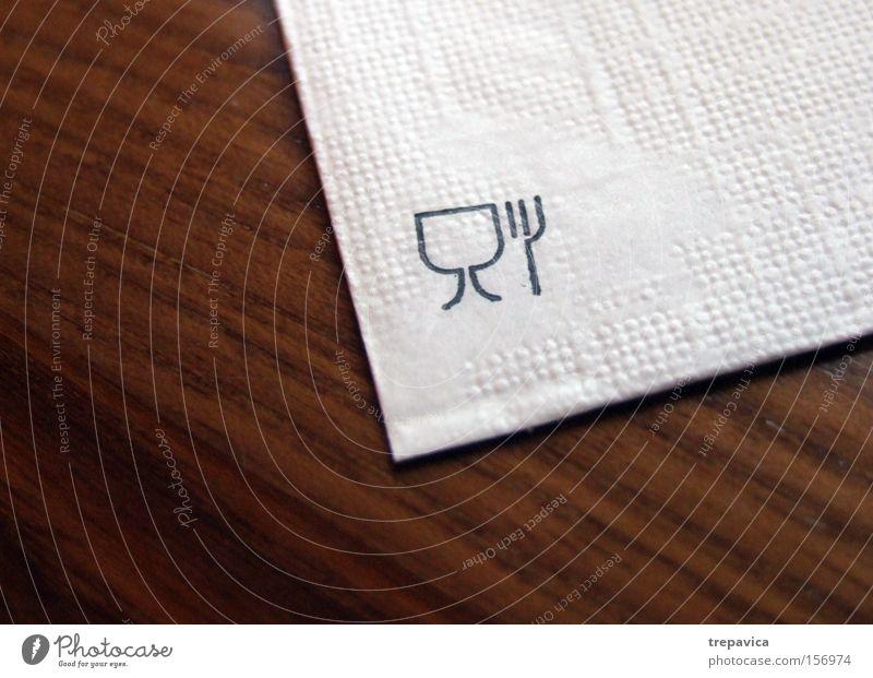 Essenz Kommunizieren Symbol bester komunikation Serviette tisch Restaurant braun weiss Papier Gabel