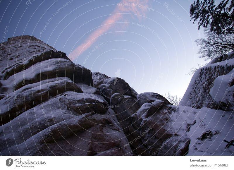 Blue Stone Winter Himmel Stein schwarz weiß Baum Bayern Wolken Mittelalter blau Schnee Berge u. Gebirge Schutz Felsen Burg oder Schloss