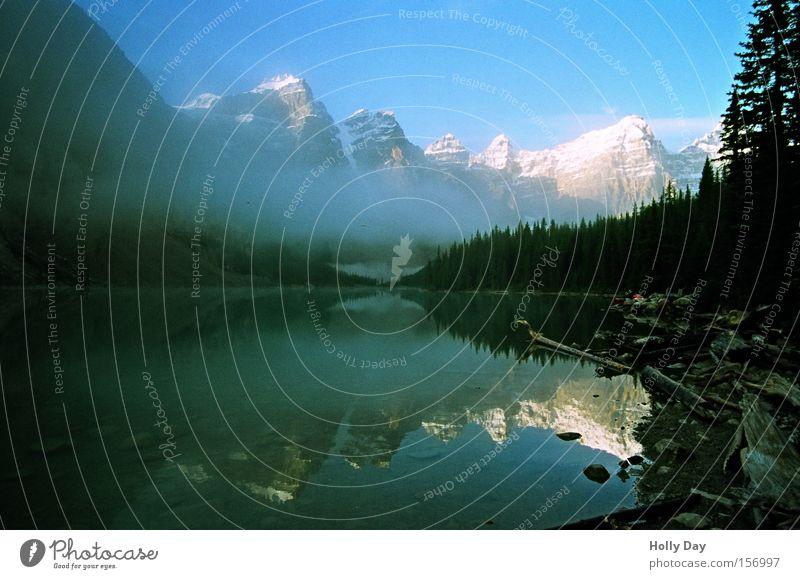 Das Letzte... Wasser ruhig Schnee Berge u. Gebirge See Frieden Klarheit Spiegel Gipfel Kanada Glätte Oberfläche friedlich Alberta Rocky Mountains