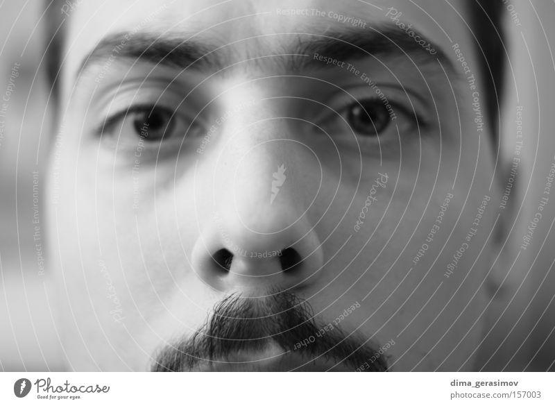 Augen Mann Nase Oberlippenbart Schwarzweißfoto Porträt Stil Angst Panik Aussehen