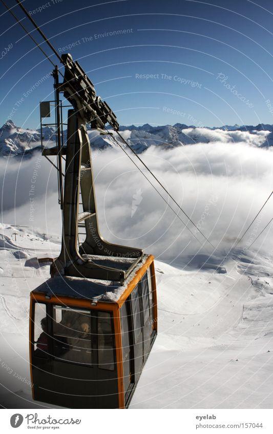 Gemma nauf...gemma widda nunder Himmel blau weiß Ferien & Urlaub & Reisen Wolken Winter Ferne Schnee Berge u. Gebirge oben Metall Glas Seil Niveau Alpen unten
