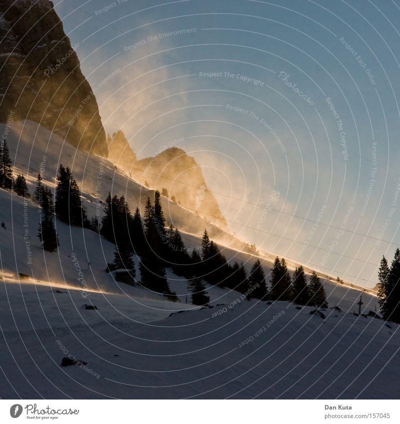 Säntis Sundown Winter ruhig kalt Schnee Berge u. Gebirge Eis Zufriedenheit Frost Frieden Schweiz Klettern Klarheit genießen Bergsteigen Berg Säntis