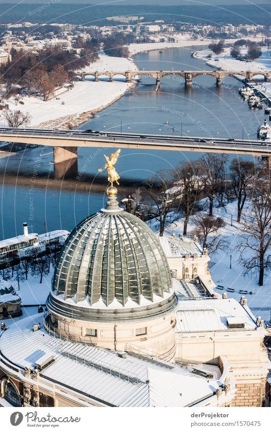 Blick auf die winterliche Elbe Ferien & Urlaub & Reisen Ferne Winter Umwelt Gefühle Schnee Tourismus Verkehr Ausflug Schönes Wetter Brücke Neugier Fluss
