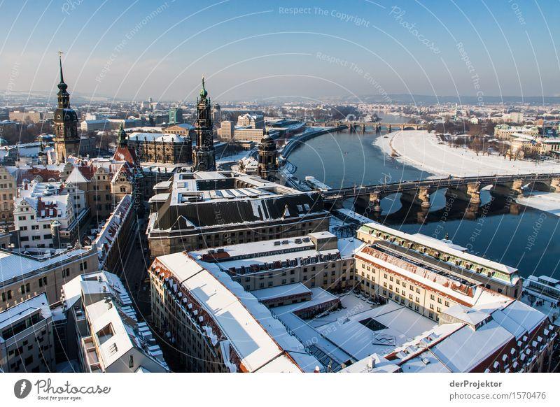 Elbmetropole Dresden Ferien & Urlaub & Reisen Ferne Architektur Umwelt Schnee Gebäude Tourismus Ausflug Schönes Wetter Brücke historisch Fluss Sehenswürdigkeit