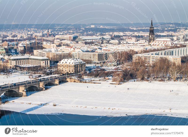 Panorama in Dresden 3 Ferien & Urlaub & Reisen Tourismus Ausflug Ferne Freiheit Sightseeing Städtereise Winter Schnee Winterurlaub Schönes Wetter Eis Frost