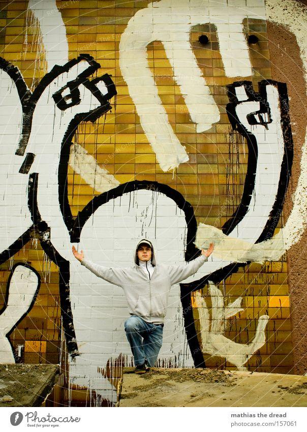 IoI Graffiti Straßenkunst Kunst anonym Anstreicher Maler Mensch Mann Schwarzweißfoto Mauer Fassade Hiphop Freizeit & Hobby Gemälde Schmiererei Wandmalereien