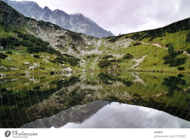 Bergsee Himmel Natur Ferien & Urlaub & Reisen Pflanze Wasser Landschaft Wolken Berge u. Gebirge Gras Horizont Tourismus Freizeit & Hobby Luft wandern groß Ausflug